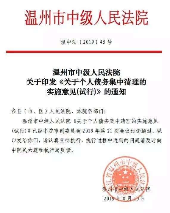 温州中院关于个人债务集中清理的实施意见(试行)