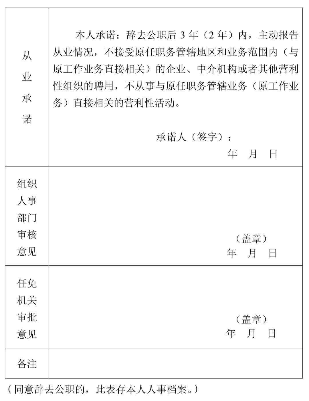 中组部发布公务员辞去公职最新规定(附申请表)