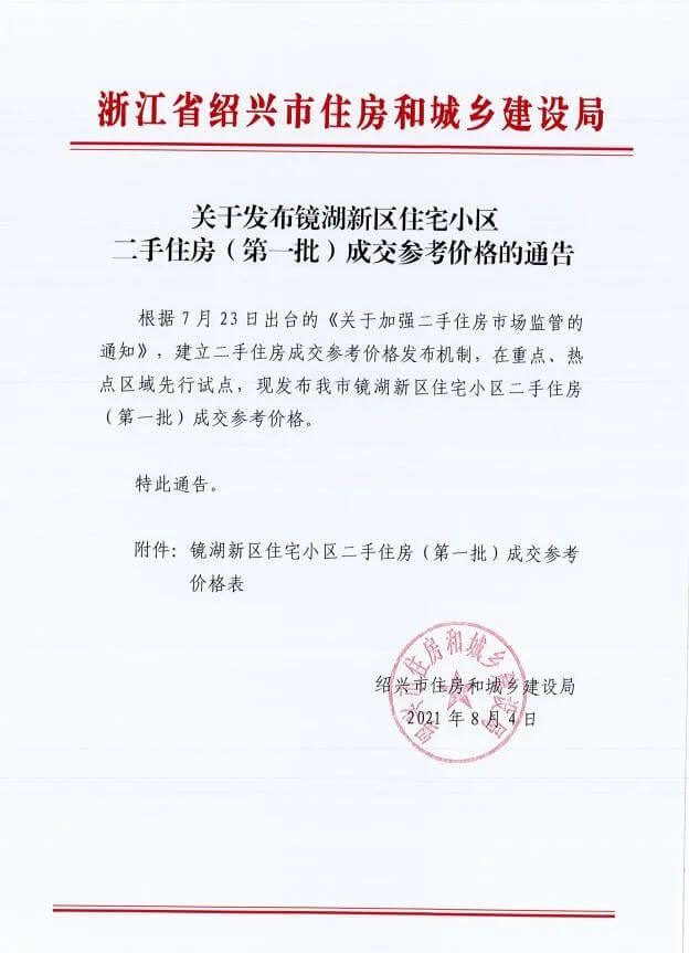 绍兴镜湖发布第一批二手房成交参考价格